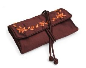 Fair Trade Silk Brown Jewelry Pouch