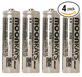 Moonrays 97125 Rechargeable NiCd AA Batteries for Solar Powered Units, AA, 4-Pack