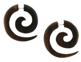 Organic Dark Wood Fake 4G Plug - 29mm x 32mm - 18G Wire - Sold as a Pair