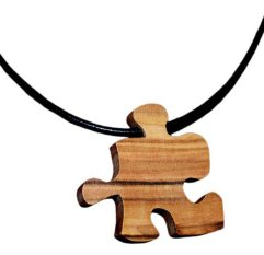 Olive Wood Puzzle Piece Necklace Natural Matte Finish