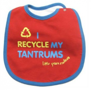 """I Recycle My Tantrums"" Bib in Red"
