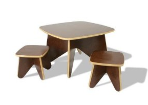 Eco-friendly Kid's Project Table Set with 2 Stools in Cocoa Finish