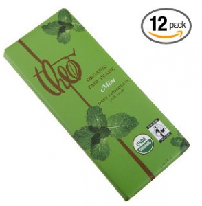 Theo Classic Organic Dark Chocolate with Mint, 3-Ounce Bars (Pack of 12)